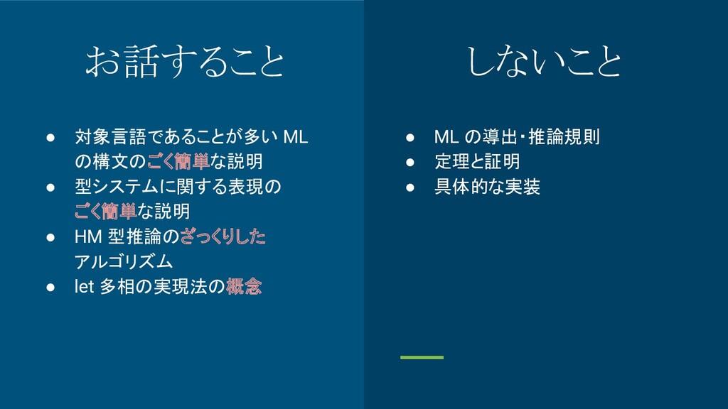 お話すること ● 対象言語であることが多い ML の構文のごく簡単な説明 ● 型システムに関す...