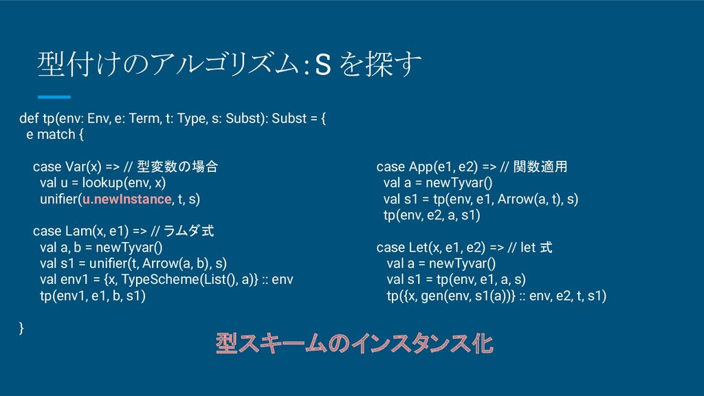 型付けのアルゴリズム:S を探す def tp(env: Env, e: Term, t: T...
