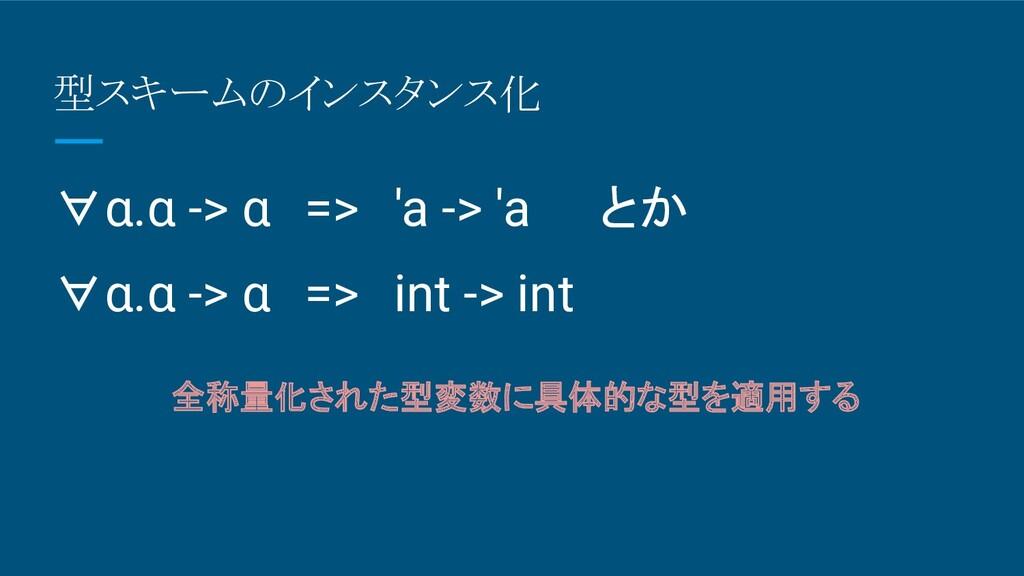 型スキームのインスタンス化 全称量化された型変数に具体的な型を適用する ∀α.α -> α =...
