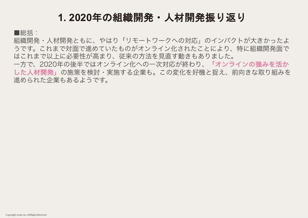 1. 2020年の組織開発・人材開発振り返り Copyright corner inc. Al...