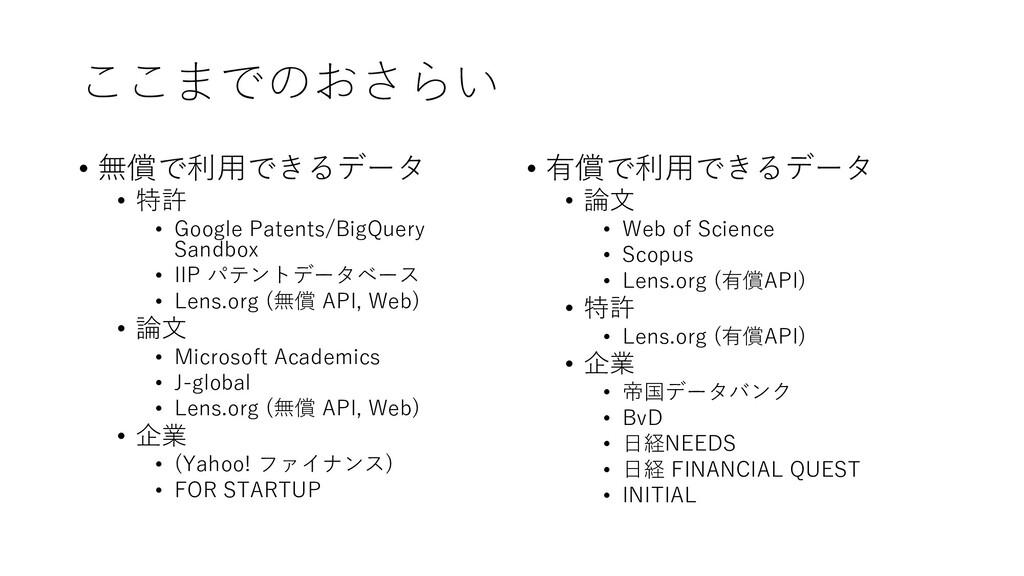 ここまでのおさらい • 無償で利用できるデータ • 特許 • Google Patents/B...