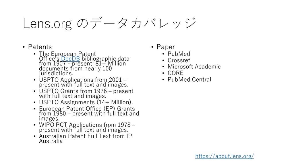 Lens.org のデータカバレッジ • Patents • The European Pat...