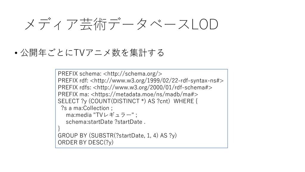 メディア芸術データベースLOD • 公開年ごとにTVアニメ数を集計する PREFIX sche...