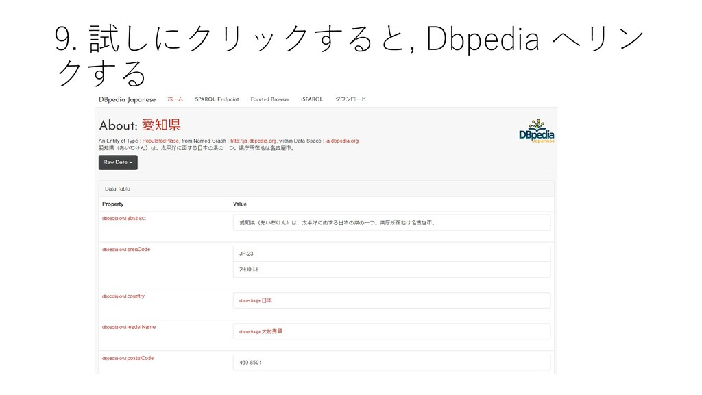 9. 試しにクリックすると, Dbpedia へリン クする