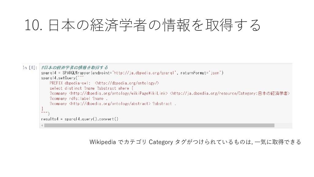 10. 日本の経済学者の情報を取得する Wikipedia でカテゴリ Category タグ...