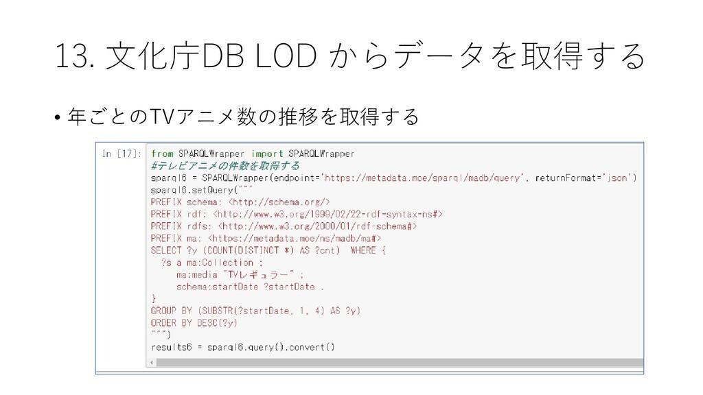 13. 文化庁DB LOD からデータを取得する • 年ごとのTVアニメ数の推移を取得する