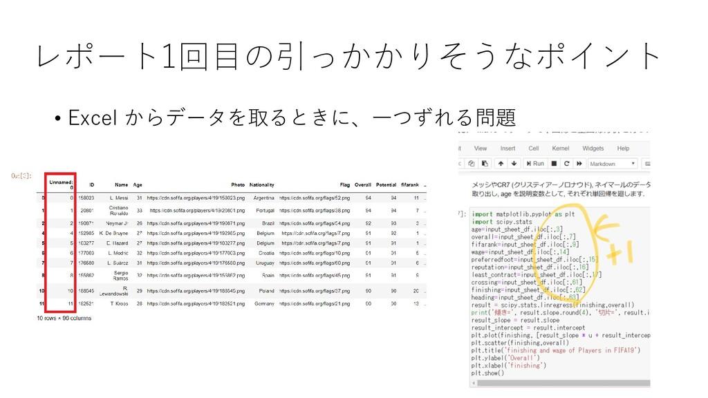 レポート1回目の引っかかりそうなポイント • Excel からデータを取るときに、一つずれる問題