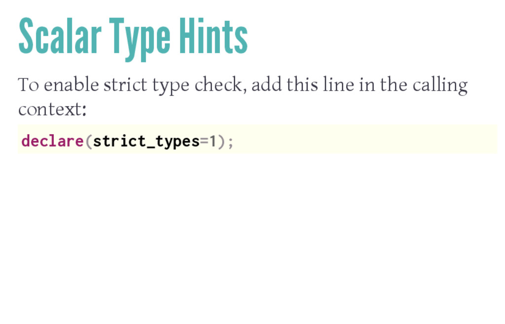 Scalar Type Hints To enable strict type check, ...