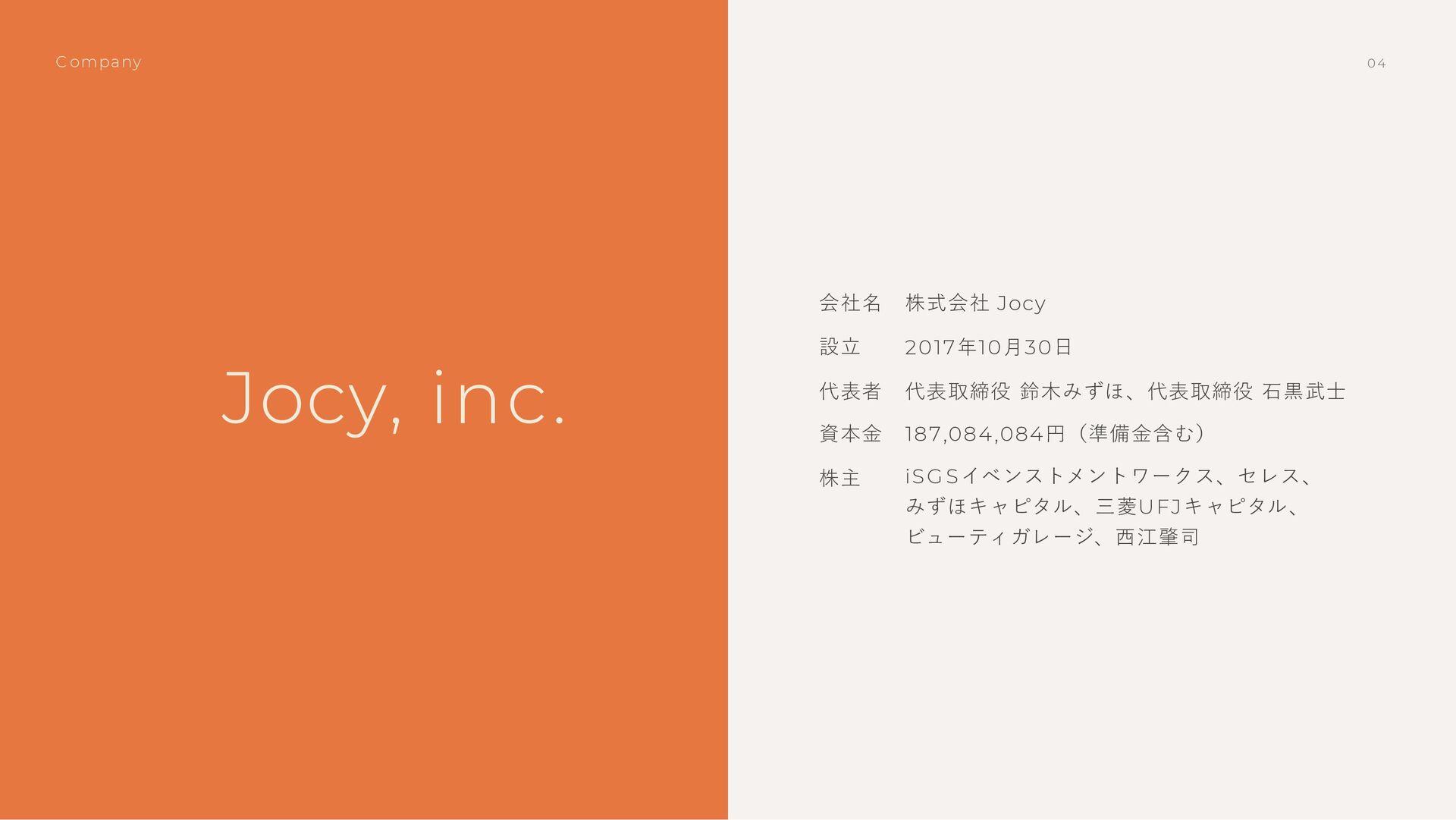 設⽴ 会社名 株式会社 Jocy 2017年10⽉30⽇ 代表者 代表取締役 鈴⽊みずほ、代表...