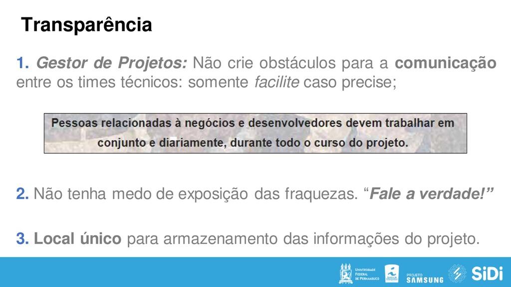 Transparência 1. Gestor de Projetos: Não crie o...