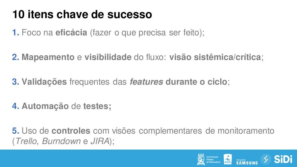 10 itens chave de sucesso 1. Foco na eficácia (...