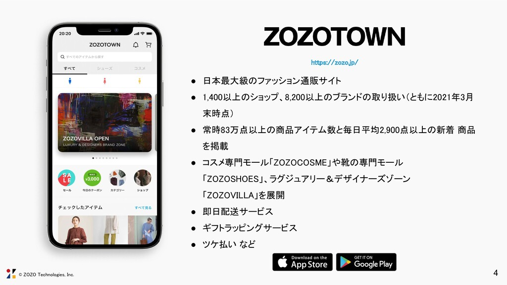© ZOZO Technologies, Inc. https://zozo.jp/ 4 ●...