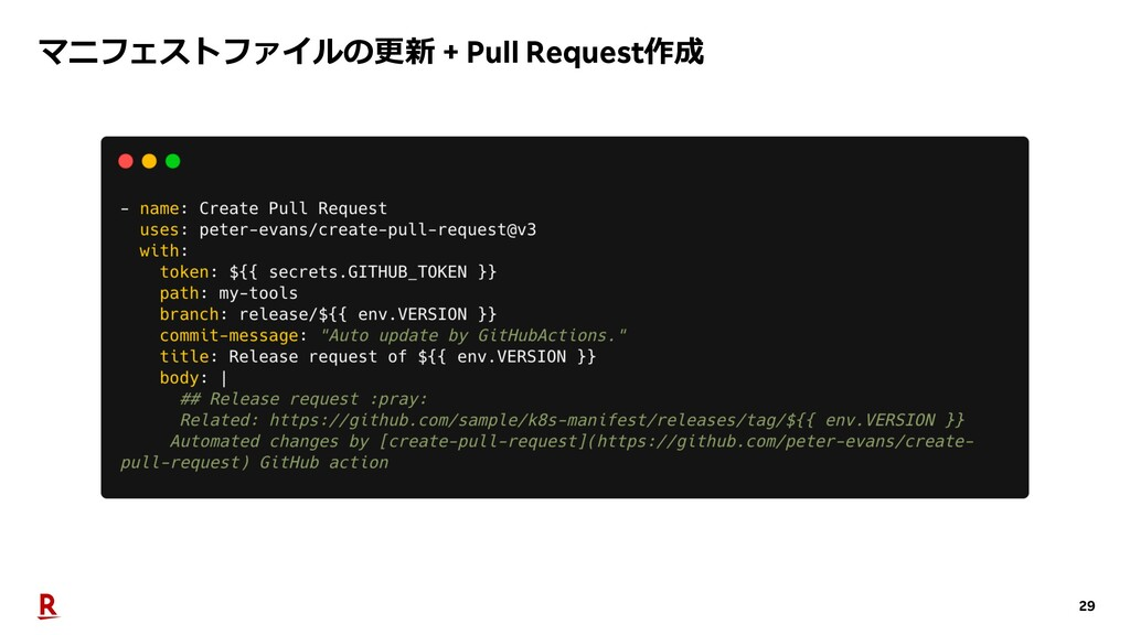 29 マニフェストファイルの更新 + Pull Request作成