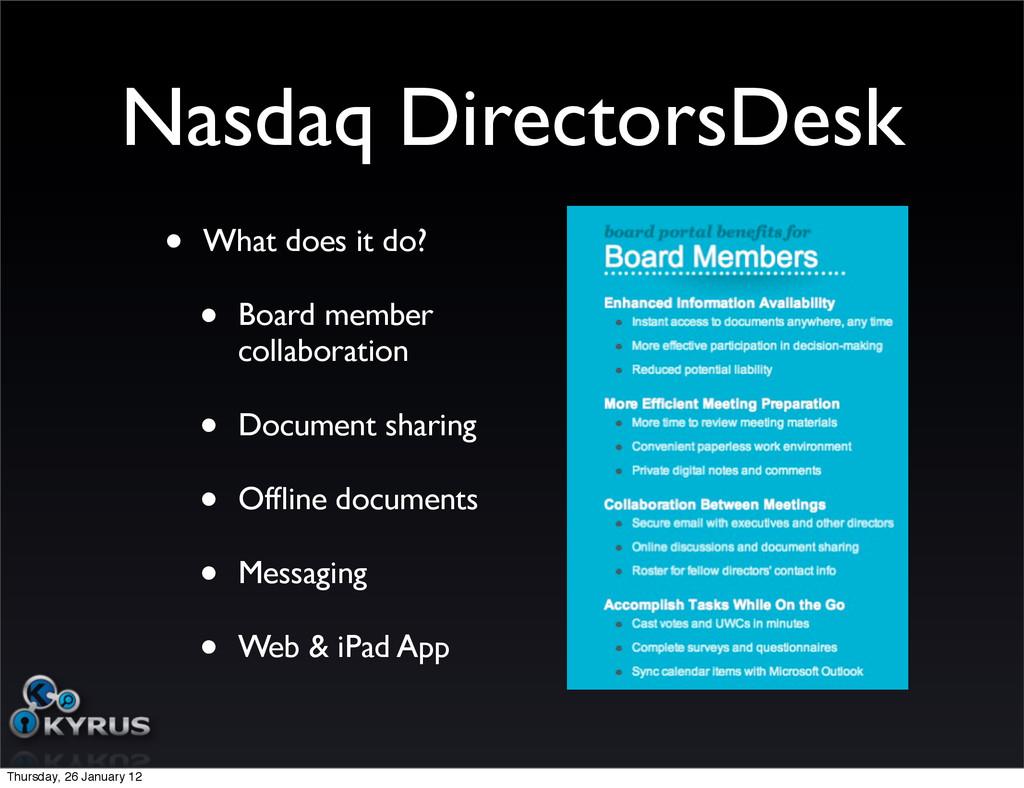 Nasdaq DirectorsDesk • What does it do? • Board...