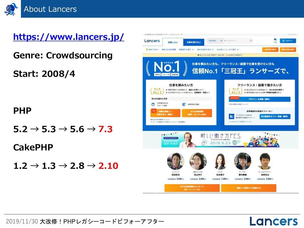 2019/11/30 大改修!PHPレガシーコードビフォーアフター About Lancers...