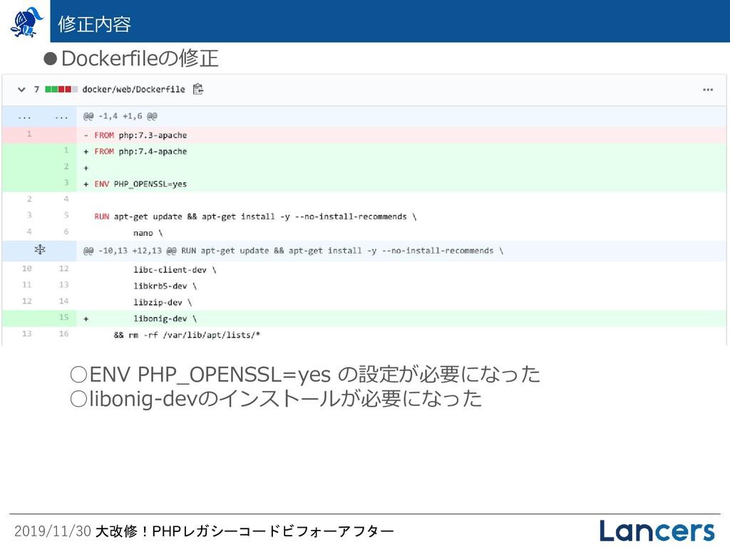 2019/11/30 大改修!PHPレガシーコードビフォーアフター 修正内容 ●Dockerf...