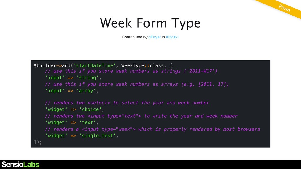 Week Form Type Contributed by dFayet in #32061 ...