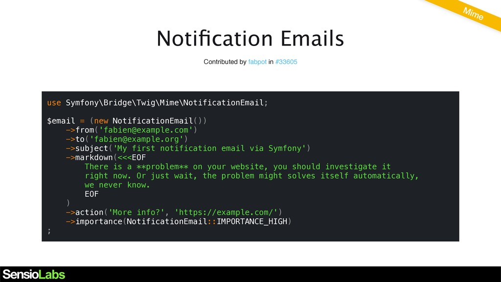 Notification Emails Contributed by fabpot in #33...