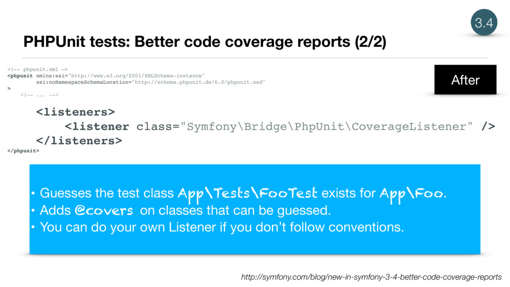 PHPUnit tests: Better code coverage reports (2/...