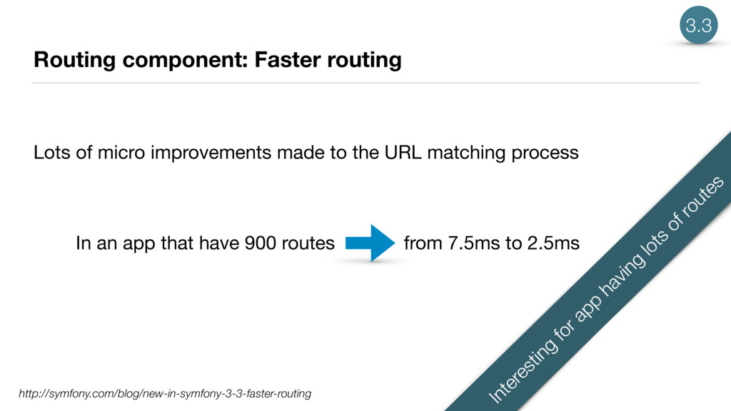 Routing component: Faster routing Lots of micro...