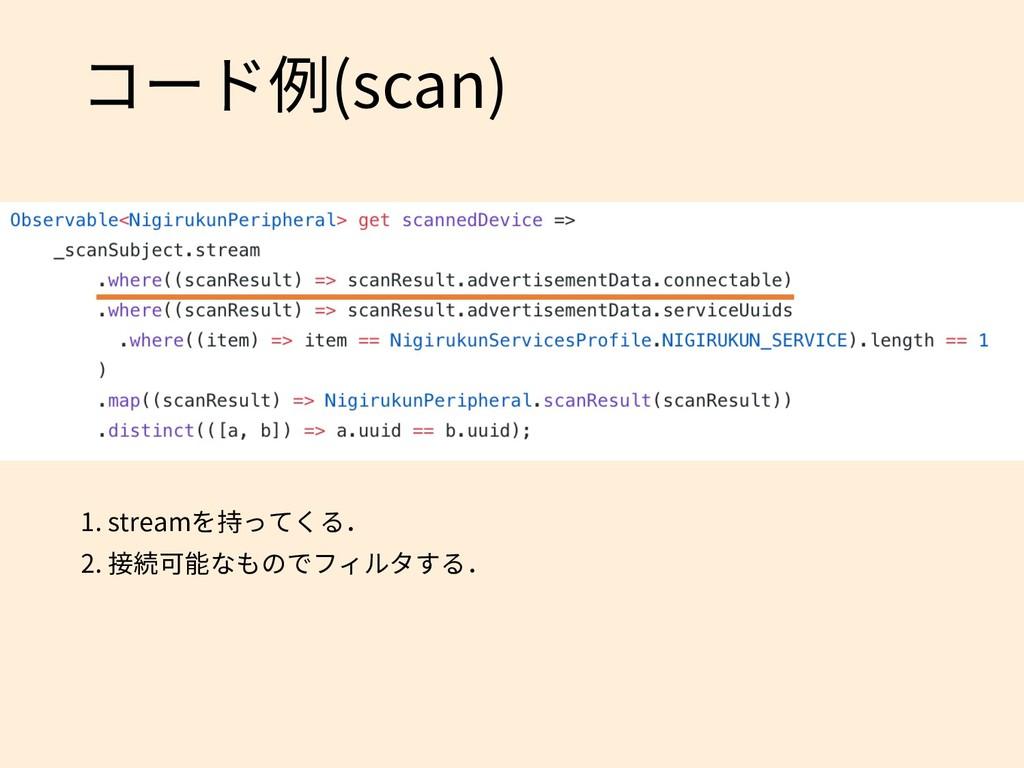 コード例(scan) 1. streamを持ってくる. 2. 接続可能なものでフィルタする.