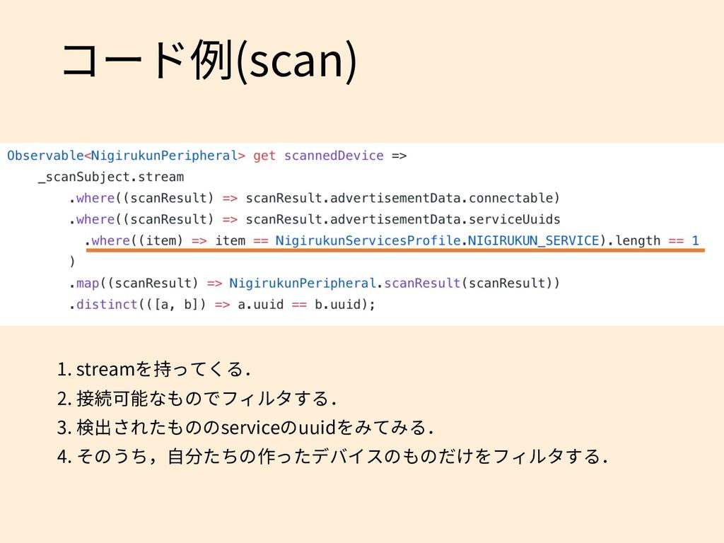 コード例(scan) 1. streamを持ってくる. 2. 接続可能なものでフィルタする. ...