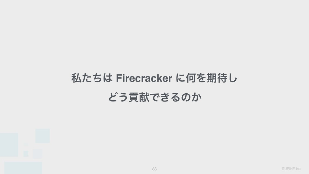 SUPINF Inc 33 ࢲͨͪ͸ Firecracker ʹԿΛظ଴͠ Ͳ͏ߩݙͰ͖Δͷ͔