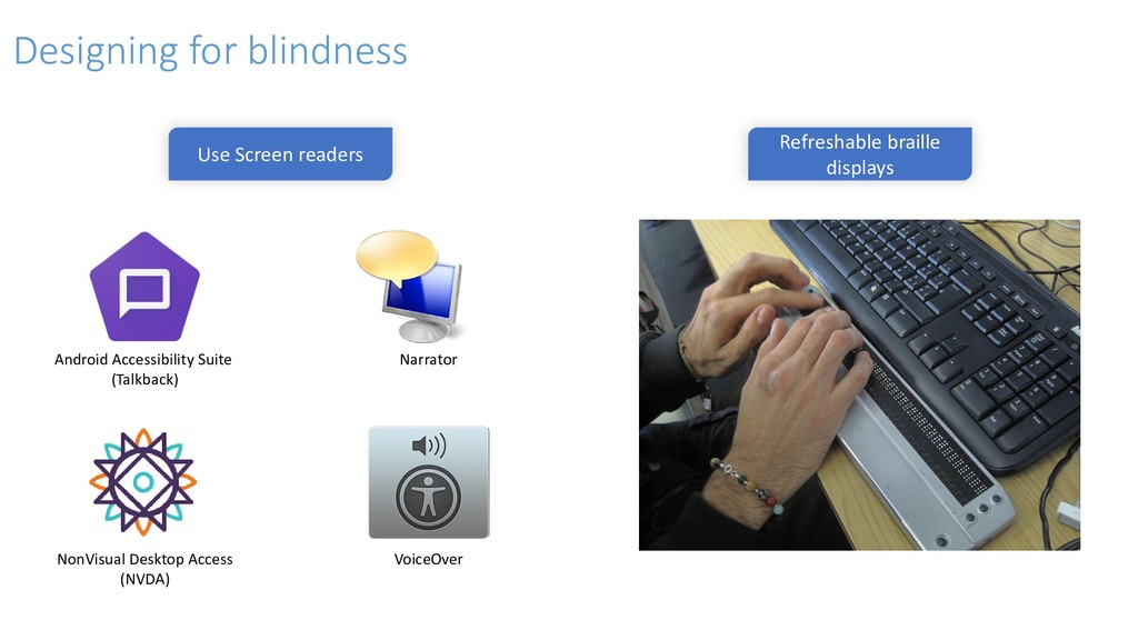 Use Screen readers Refreshable braille displays...