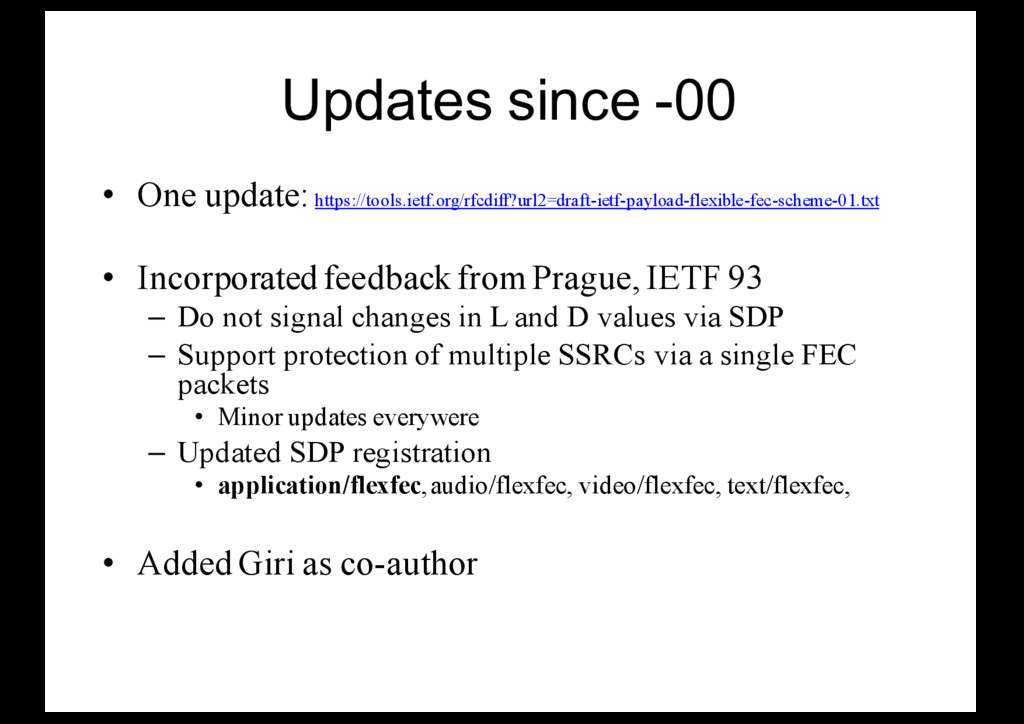 Updates since -00 • One update: https://tools.i...