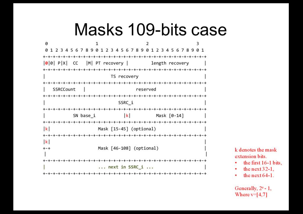 Masks 109-bits case 0 1 2 3 0 1 2 3 4 5 6 7 8 9...