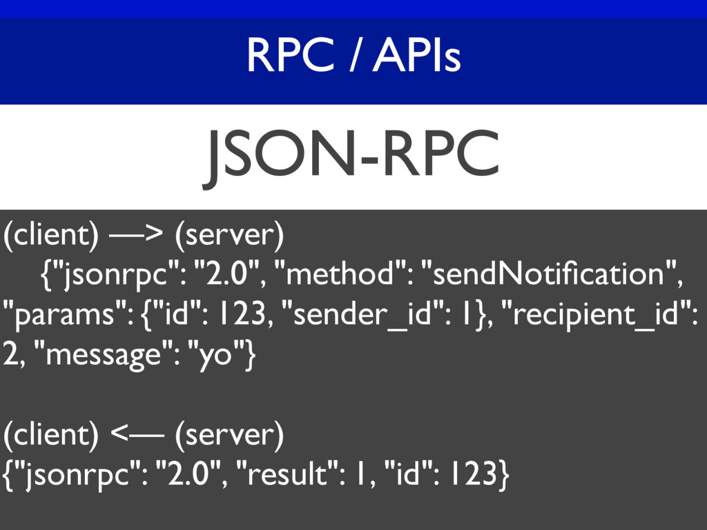 "RPC / APIs JSON-RPC (client) —> (server) {""json..."