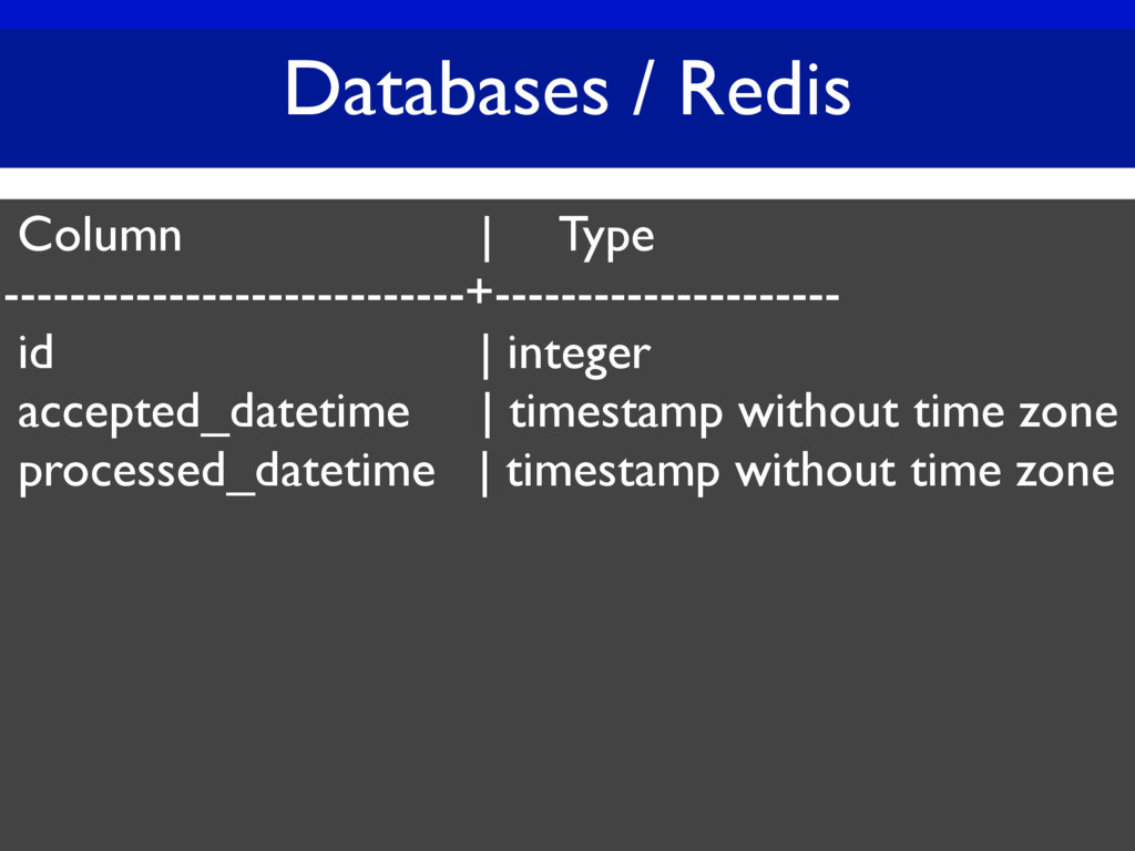 Databases / Redis Column | Type ---------------...