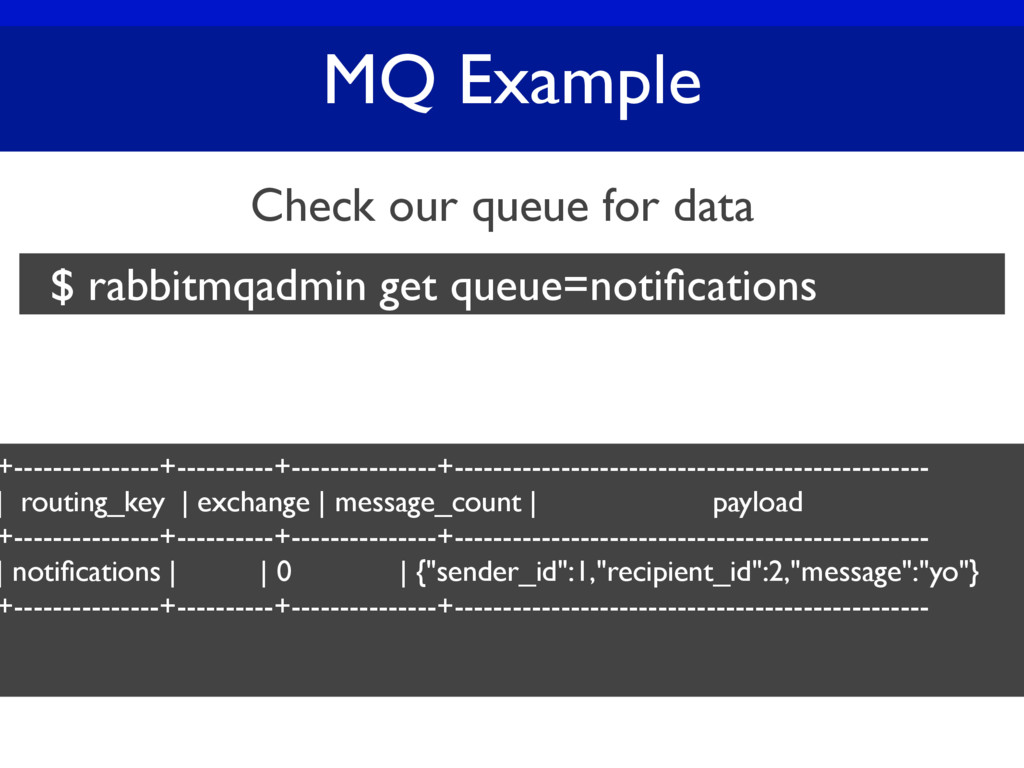 MQ Example Check our queue for data $ rabbitmqa...