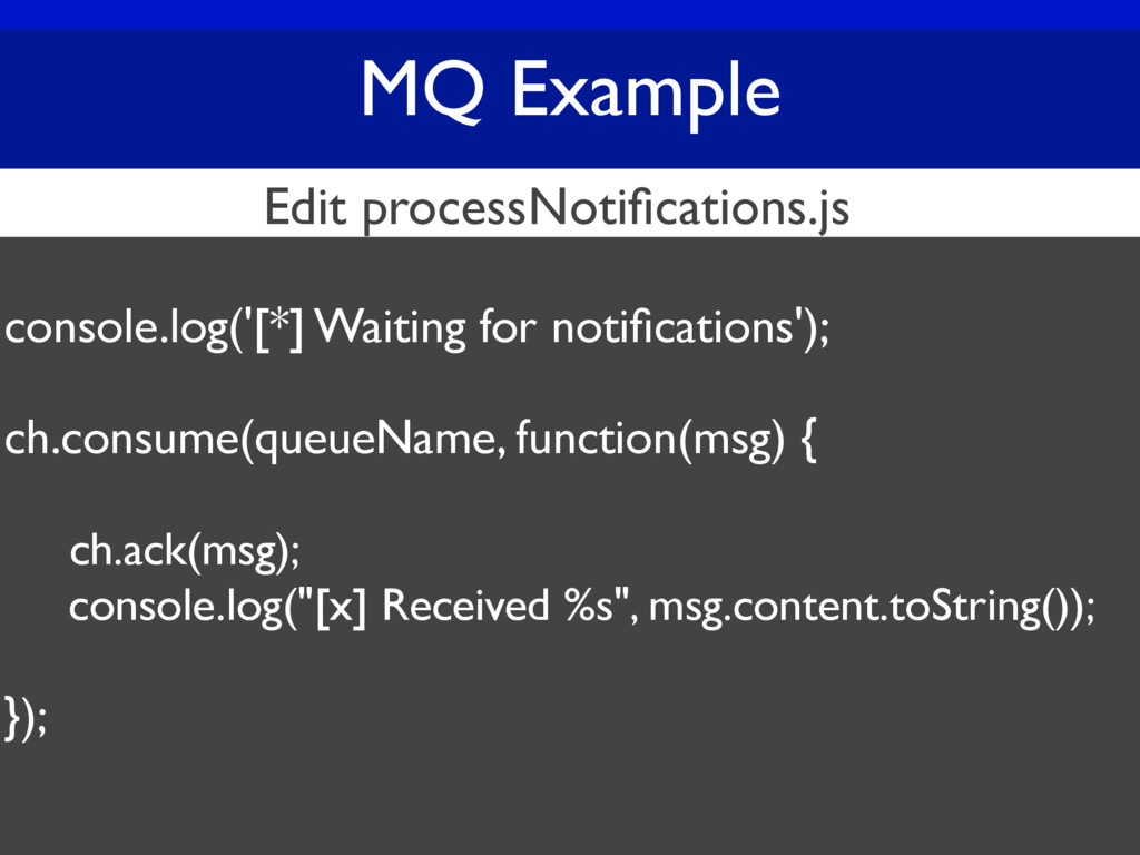 MQ Example console.log('[*] Waiting for notifica...