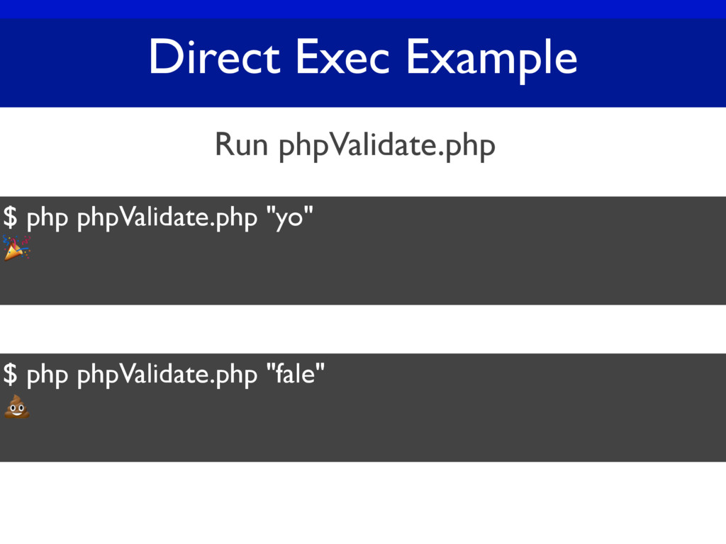 """Direct Exec Example $ php phpValidate.php """"yo"""" ..."""