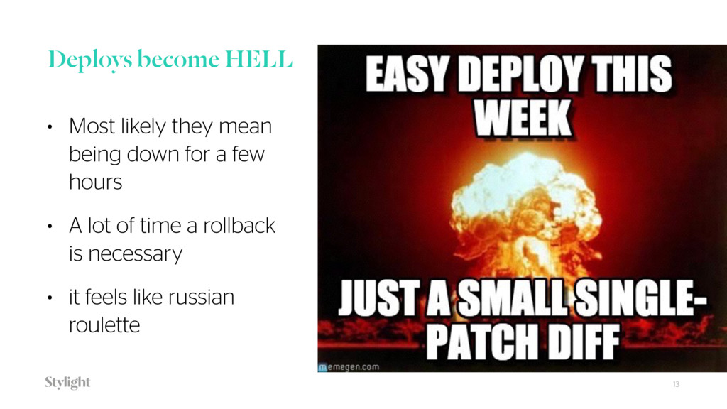 Deploys become HELL • Most likely they mean be...