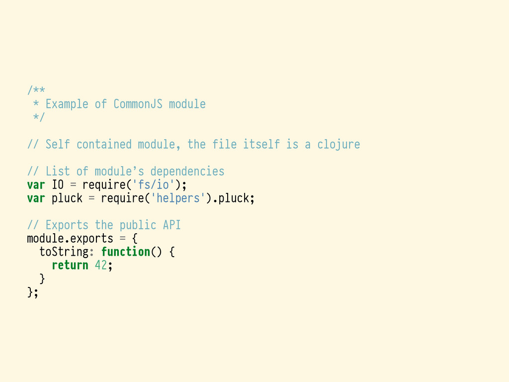 /** * Example of CommonJS module */ // Self con...