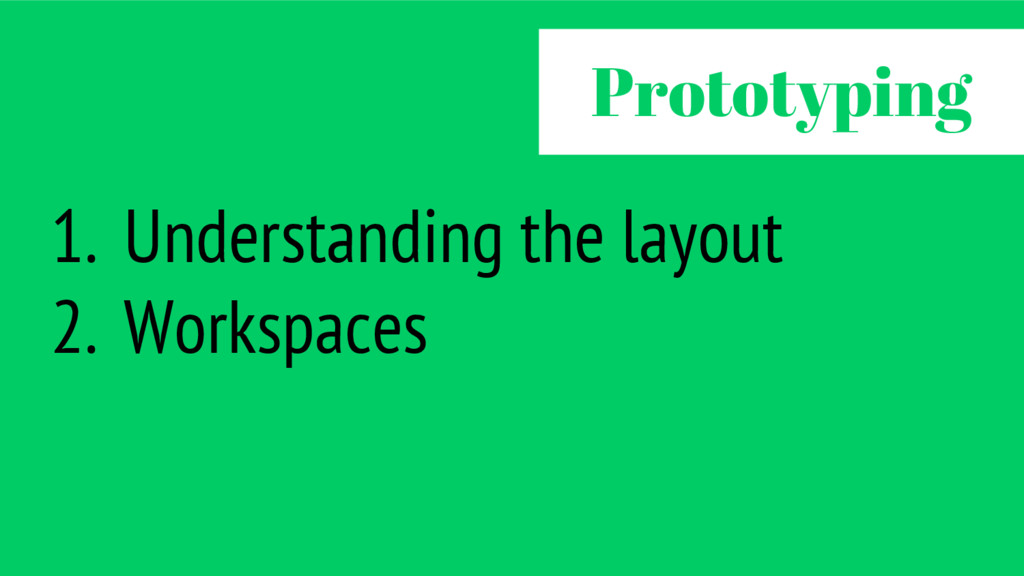 1. Understanding the layout 2. Workspaces Proto...