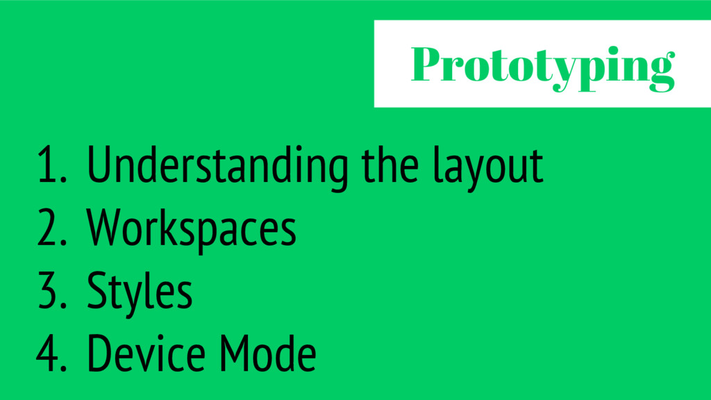 1. Understanding the layout 2. Workspaces 3. St...