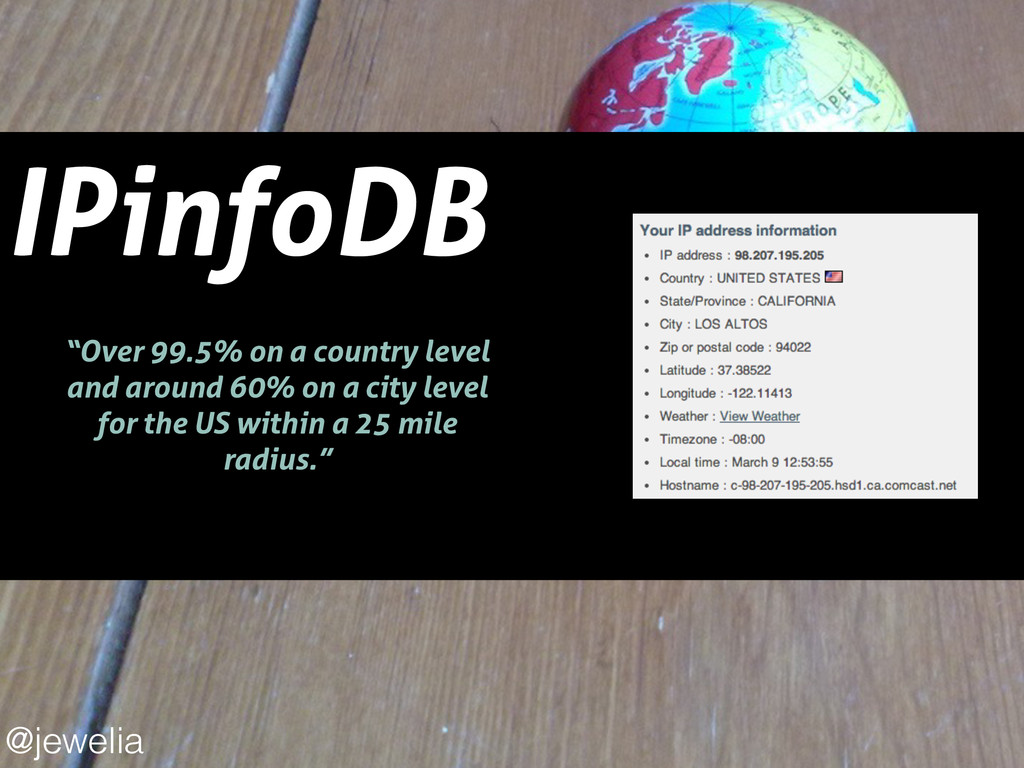 """IPinfoDB ! """"Over 99.5% on a country level and a..."""