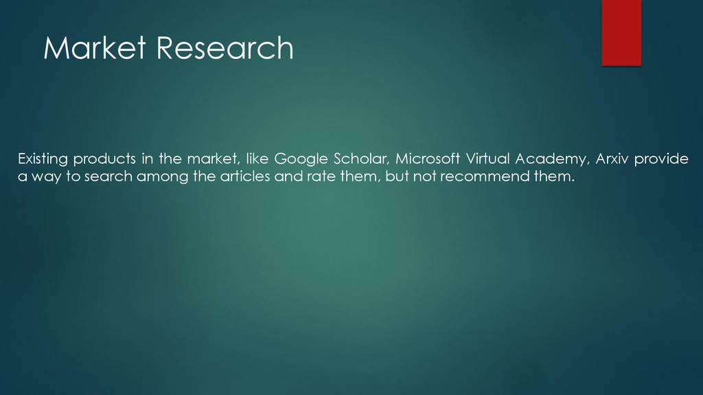 Market Research Existing products in the market...