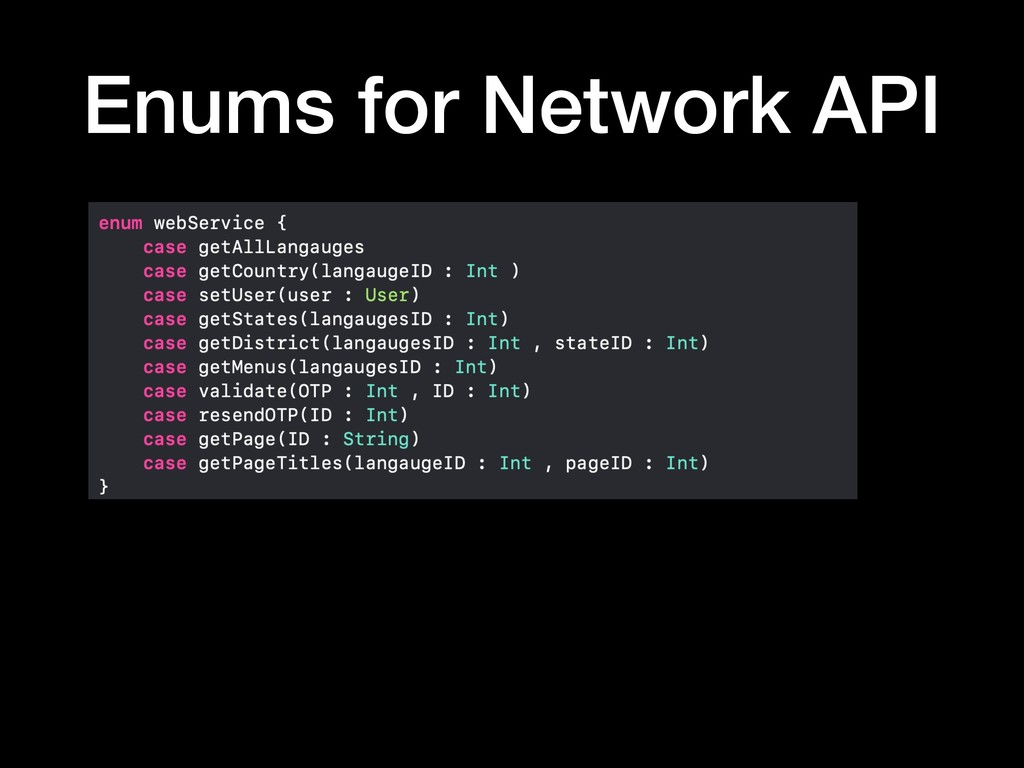 Enums for Network API