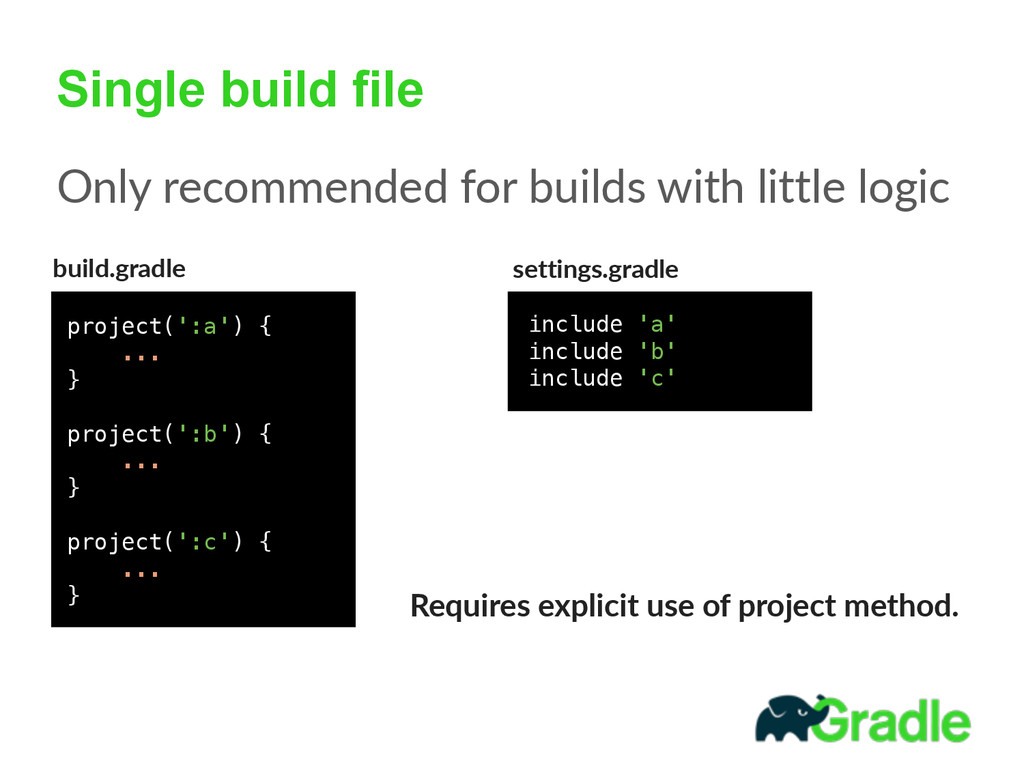 Single build file Only recommended for build...
