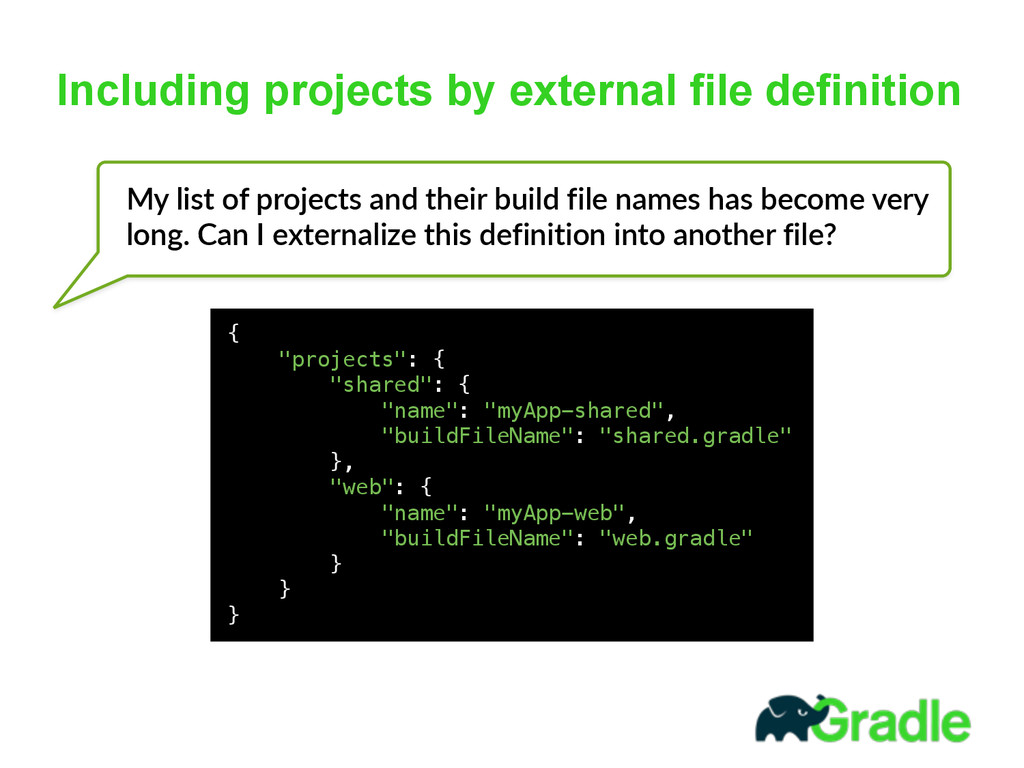 Including projects by external file definition ...