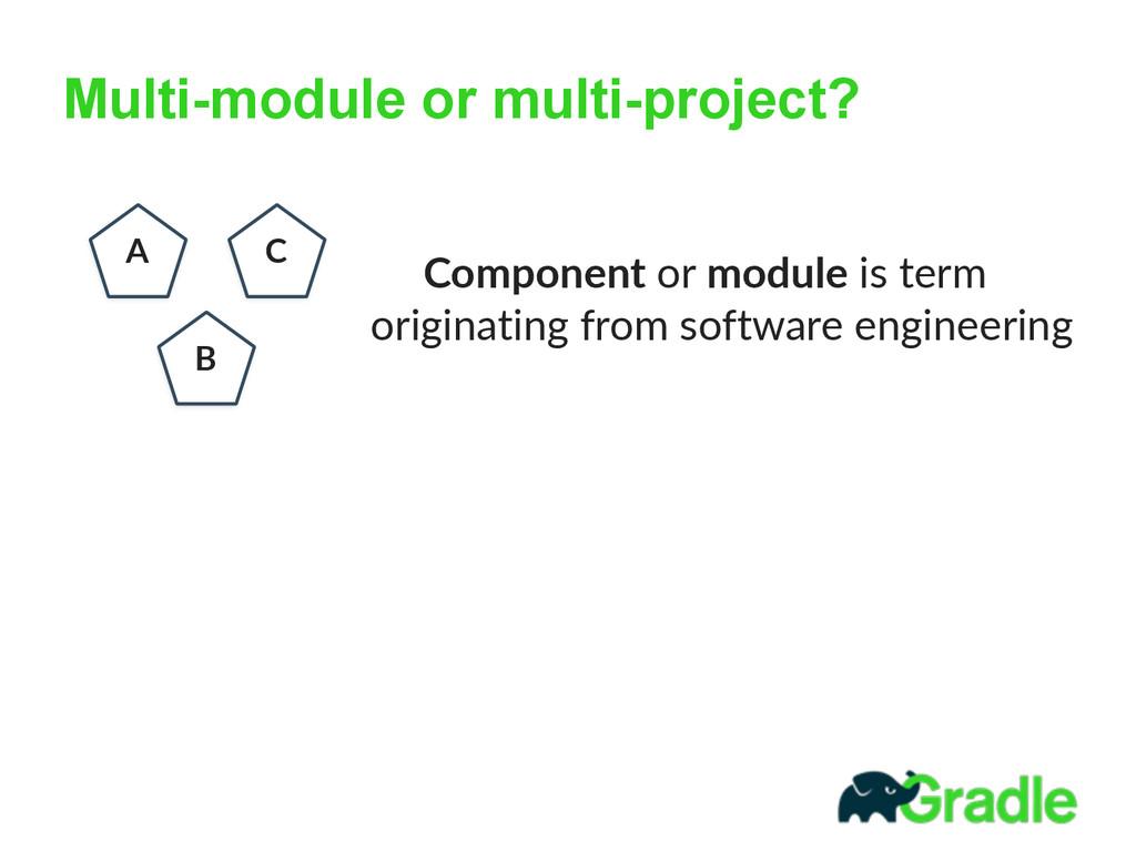 Multi-module or multi-project? A B C  Componen...