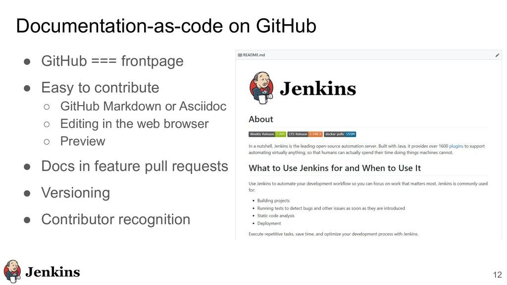 12 Documentation-as-code on GitHub ● GitHub ===...