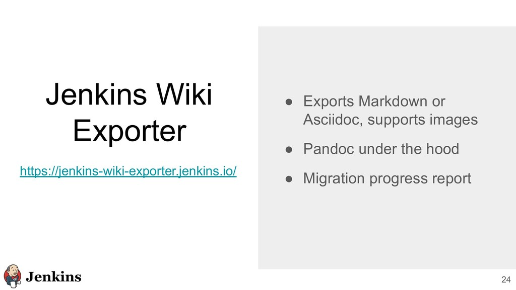 Jenkins Wiki Exporter 24 ● Exports Markdown or ...