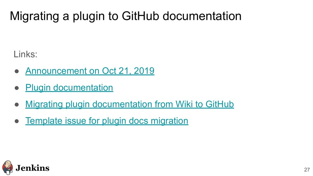 Migrating a plugin to GitHub documentation Link...