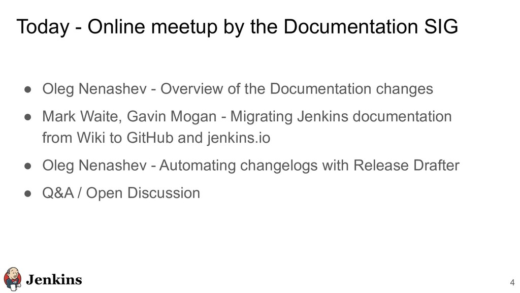 Today - Online meetup by the Documentation SIG ...