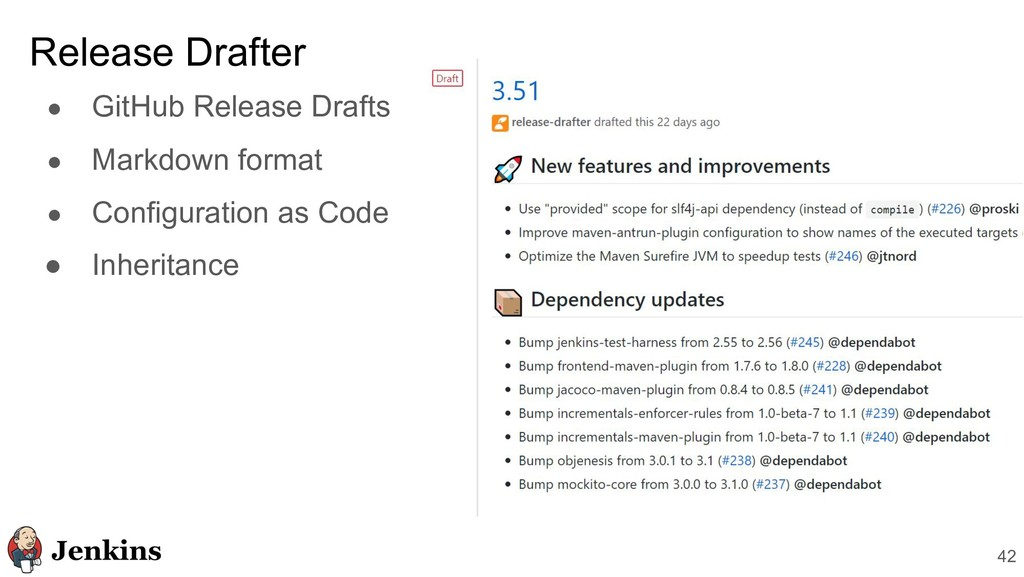 ● GitHub Release Drafts ● Markdown format ● Con...